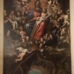 Cappella n. 1 - Domenico Fiasella, Madonna in gloria con la veduta della città di Genova